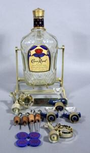 Crown Royal Display Dispenser and Bottle with Assorted Pour Spouts