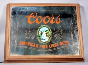 "Lighted Coors Mirror 25""W x 20""H - Mirror Does Light, Has Cosmetic Damage"