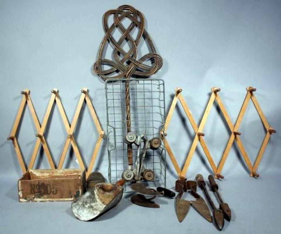 Vintage Item Assortment, Includes Rug Beater, Shears, Iron Shoe Form ...