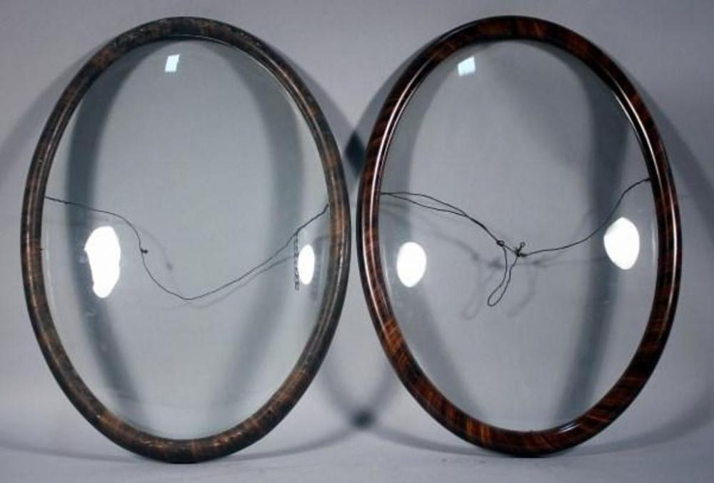 Pair Of Vintage Oval Picture Frames With Convex Glass Measures 21