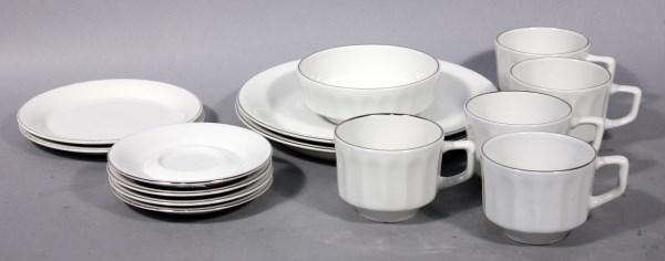 Twa Sterling China White With Silver Trim Includes 5 Coffee Cups
