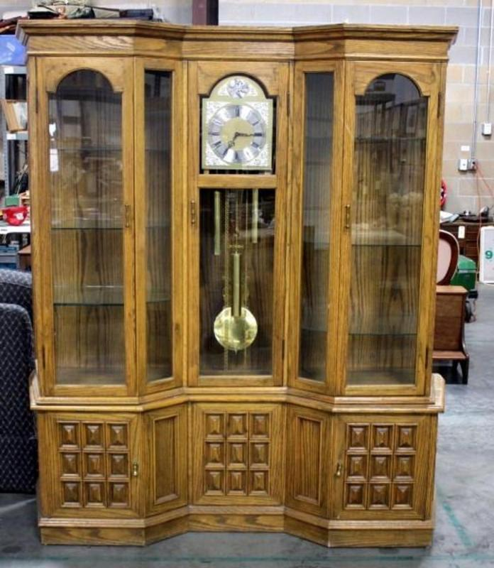 Lot 19 Of 369 Large Western Germany Lighted Curio Grandfather Clock 74 T X 62 W 16 5 D 7 Gl Shelves Bottom Storage Face Inscribed Tempus