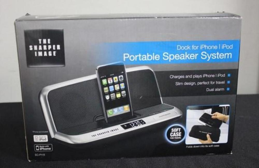 Sharper Image Ec P115 Portable Speaker System Dock For Gen 1 4 Iphone