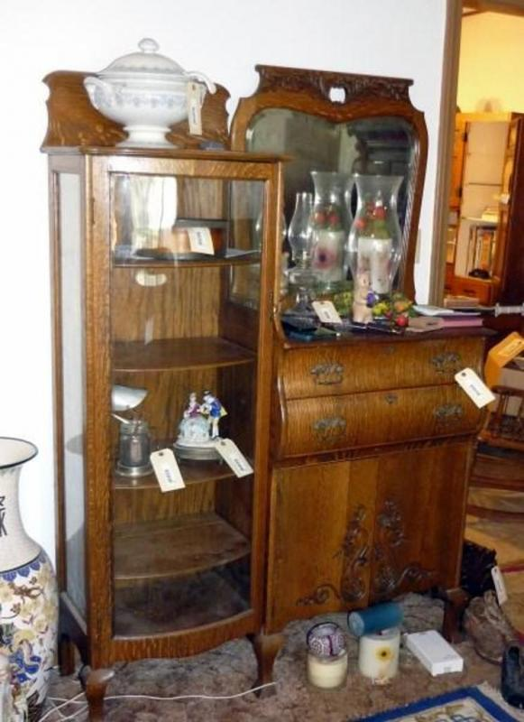 Lot 14 Of 280 Antique Tiger Oak China Cabinet With 2 Bow Front Drawers Door Storage Compartment And Curved Glass Hutch 5 Shelves