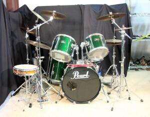 Pearl Export Series Full Drum Set w Sabian Cymbals, See Description