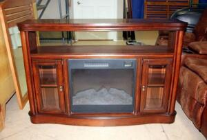"Fireplace Entertainment Center with Shelving with Adjustable Heat, 36""T x54""W x15""D, Click For More"