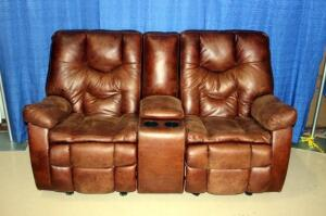Double Electric Rocking Reclining Loveseat with Cupholders & Center Storage Console
