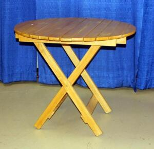 "Round Folding Wooden Outdoor Table, Approx 30""T x 36""Dia"