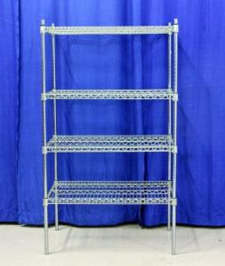 "Wire Shop Shelves with 4 shelves, Approx 63""T x 35""W x 24""D"