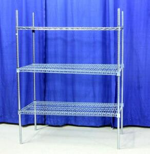 "Eagle Shelving by Metal Master Wire Shop Shelves with 3 Shelves, Approx 63""T x 48""W x 24""D"