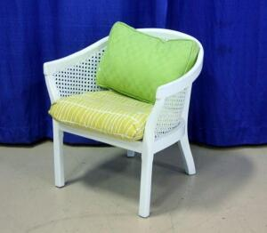 White Wicker Barrel Chair with Seat & Back Cushions