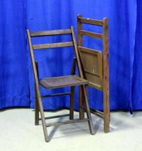 Vintage Wooden Folding Chairs, Qty 2