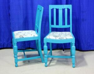 Blue Frame Padded Chairs, Qty 2, Some Staining & Wear