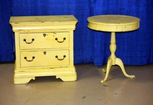"Broyhill Two Drawer Dresser 26""H x 28""W x 17""D and Round Lamp Table 26""H x 22"" Diameter"