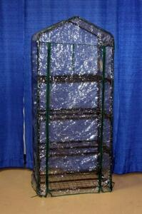 "Plant Stand Shelving With Plastic Cover, 63""H x 27""W x 18.5""D"