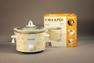 Classic 2.5 Quart Round Crock Pot Manual Control Slow Cooker, In Box, Sunflower Design