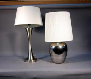 Pair of Chrome Style Table Lamps - Qty 2