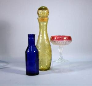 "Large Yellow Glass Cork Stoppered Bottle 19""H, Pedestal 2-Tone Candy Dish, Cobalt Blue Milk Bottle"
