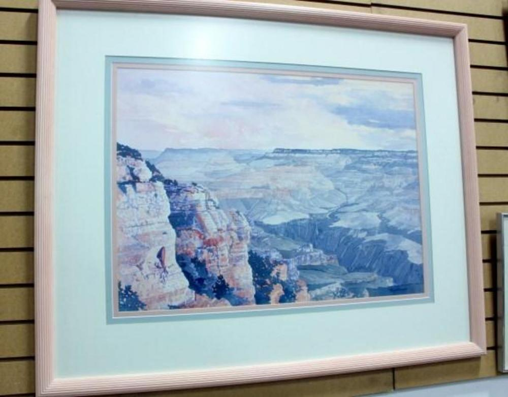 Large Framed Pastel Watercolor Style Scene Of Grand Canyon Pink