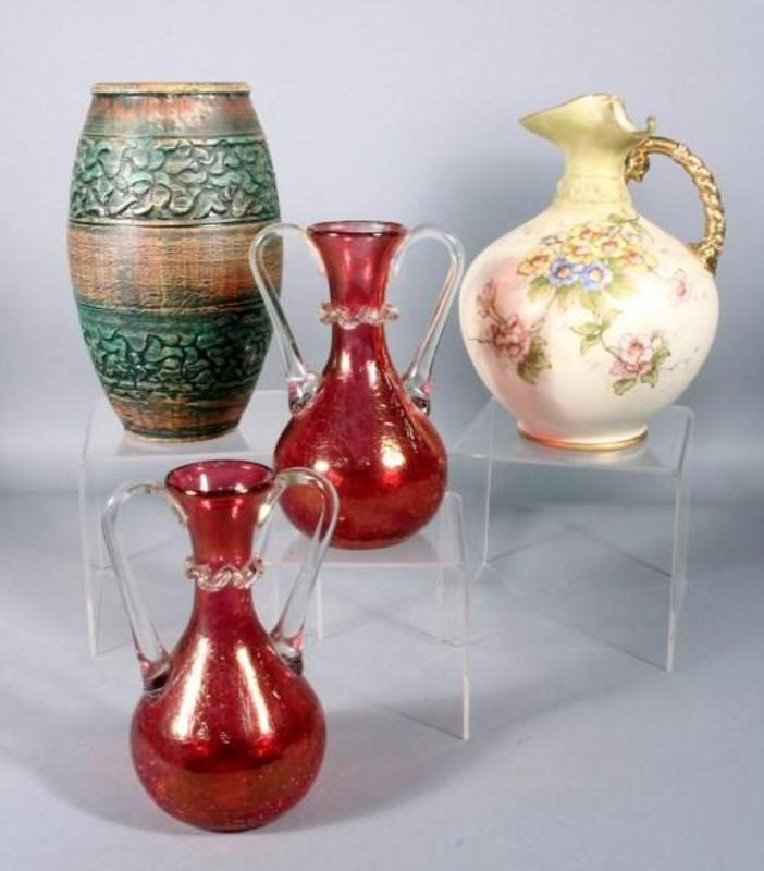 Red Crackle Glass Handled Vases 65 2 Painted Porcelain Pitcher