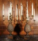 "Pair of Brass and Composite 9 Light Pineapple Style Candelabra Table Lamps, American Contemporary, 42 3/8""H x 20.75""Dia"