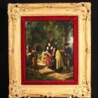"""Schoolhouse"" Framed Painting on Board, Artist Believed to Be A. Sidmans or Stedman, Estimated Circa 1870, Evidence of Surface Cleaning and Retouch Varnish Applied with Previous Repair, 22"" x 18"""