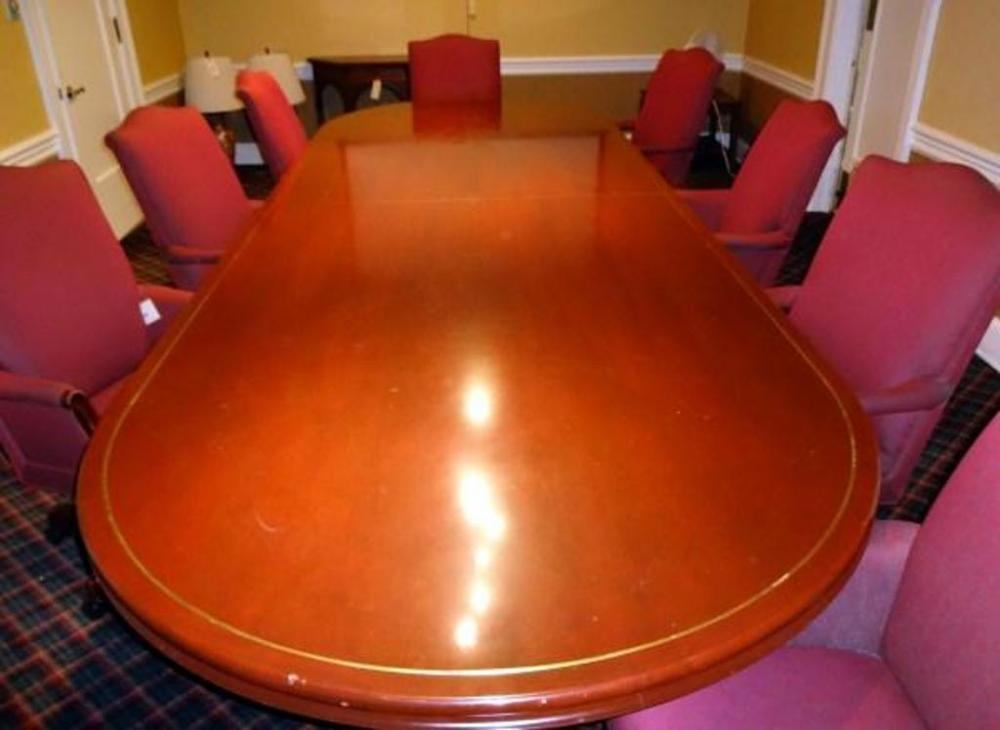 Wood Triple Pedestal Conference Table With Brass Trim Approx W X - Pedestal conference table