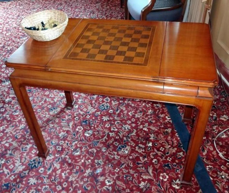 Lot 310 Of 538 Maple Sliding Top Gaming Table With Inlaid Chess Board Removable To Reveal Backgammon Includes 2 Small Drawers Hold Dice