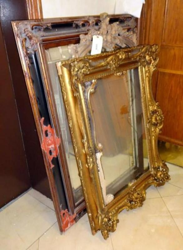 Large Ornate Mirror in Damaged Frame With Original Frame Pieces, 50 ...