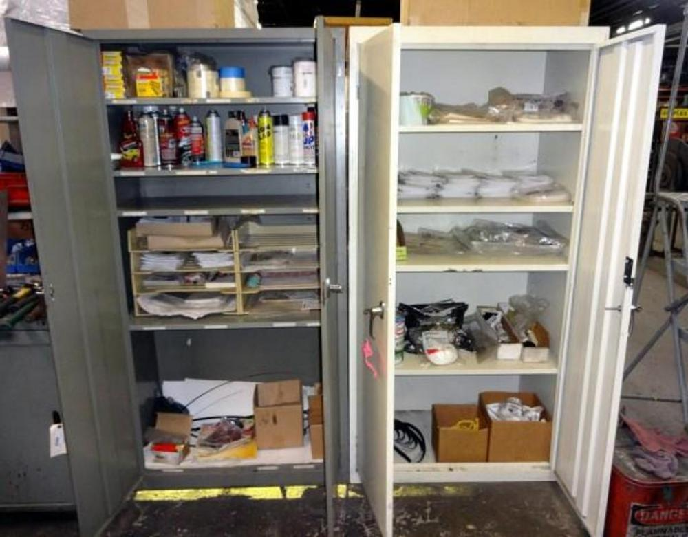 Contents Of Storage Cabinets, Includes Letter Stencils, Spray Paint