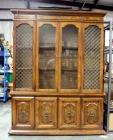 "Lighted 2 Pc China Cabinet w Bottom Storage, Plate Display Shelves, Silver Drawer, 77H x 56W x 15""D"