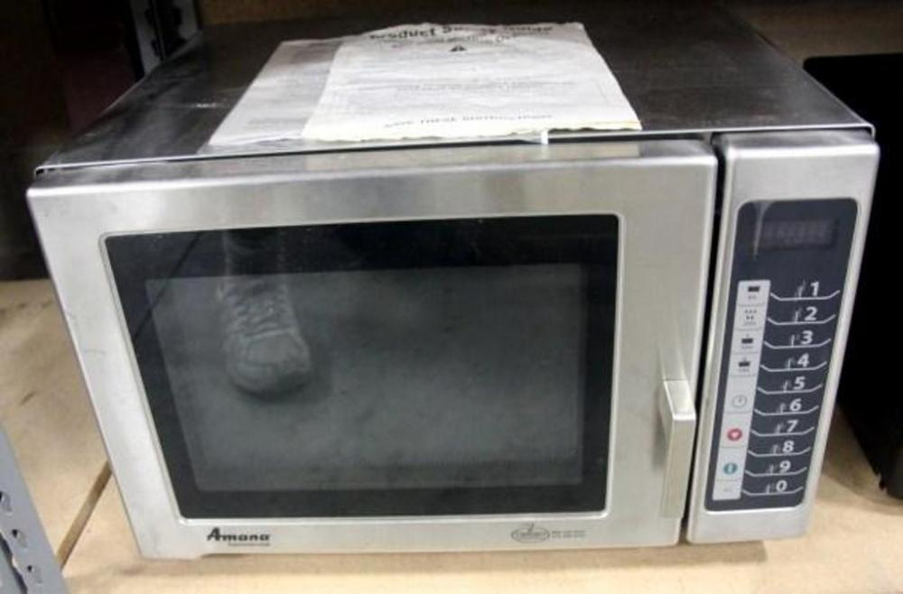 Lot 198 Of 269 Amana Commercial Service Microwave With Instructions