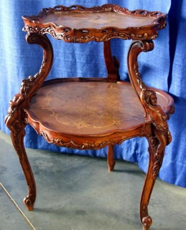 Lot 14 of 410: Ornate 2 Tier Side Table, Hand Inlaid Wood, Floral & Cherub  Legs & Edges, 27