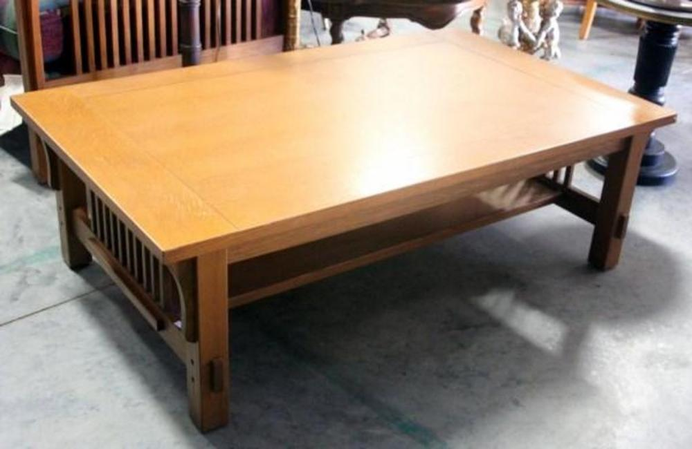 Lot 28 Of 410 Oak Mission Style Coffee Table Approx 16 T X 50 W 30 D