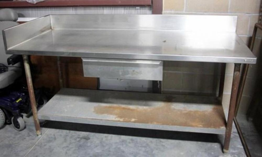 Stainless Steel Work Table With Side Backsplash And Drawer Approx - Stainless steel table with backsplash and sides