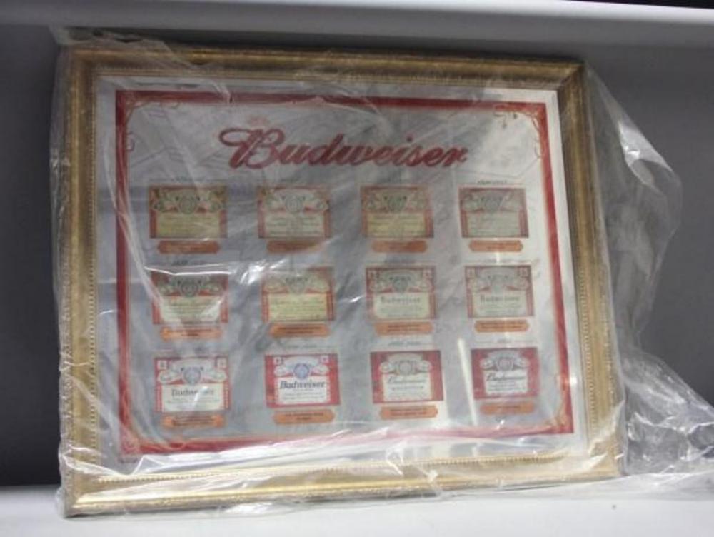 Lot 359 Of 410 Budweiser Historical Beer Labels Bar Mirror Large Gold Frame 29 X 36 Never Displayed