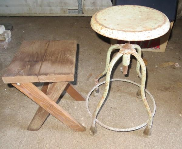 Tremendous Vintage Doctors Metal Stool And Wood Camp Stool Bralicious Painted Fabric Chair Ideas Braliciousco