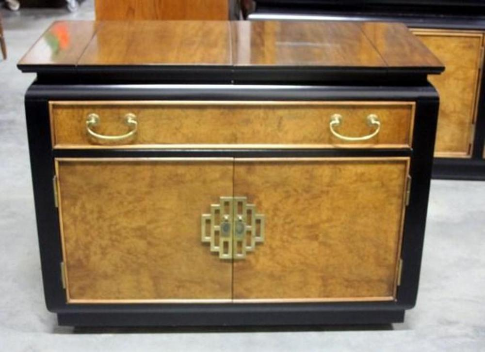 Lot 12 Of 205: Century Furniture China Hua Buffet Bar Cabinet, Bronze Metal  Asian Motif, Burled Wood, SEE DESCRIP