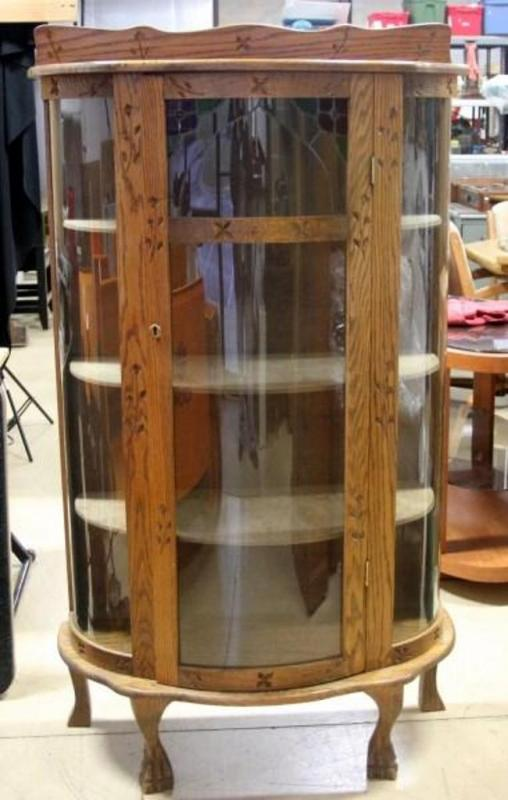 Curio Cabinet Curved Glass, Stained Glass Front, Claw Feet, Carved ...