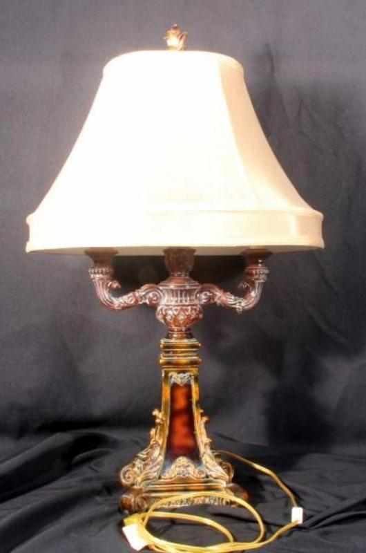 Lot 42 Of 269: Double Arm Candelabra Style Table Lamp With Light Switch On  Cord, Oval Shaped Lamp Shade