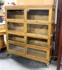 Vintage Mission Style Macey Barrister Rare Double Section 4 Stack Lawyer Bookcase, Ogee Feet, SEE Description