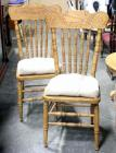 Pressed and Spindle Backed Chairs w Woven Bottoms and Tie Cushions, Damage To Weave on One, Qty 2