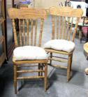 Pressed and Spindle Backed Chairs w Woven Bottoms and Tie Cushions