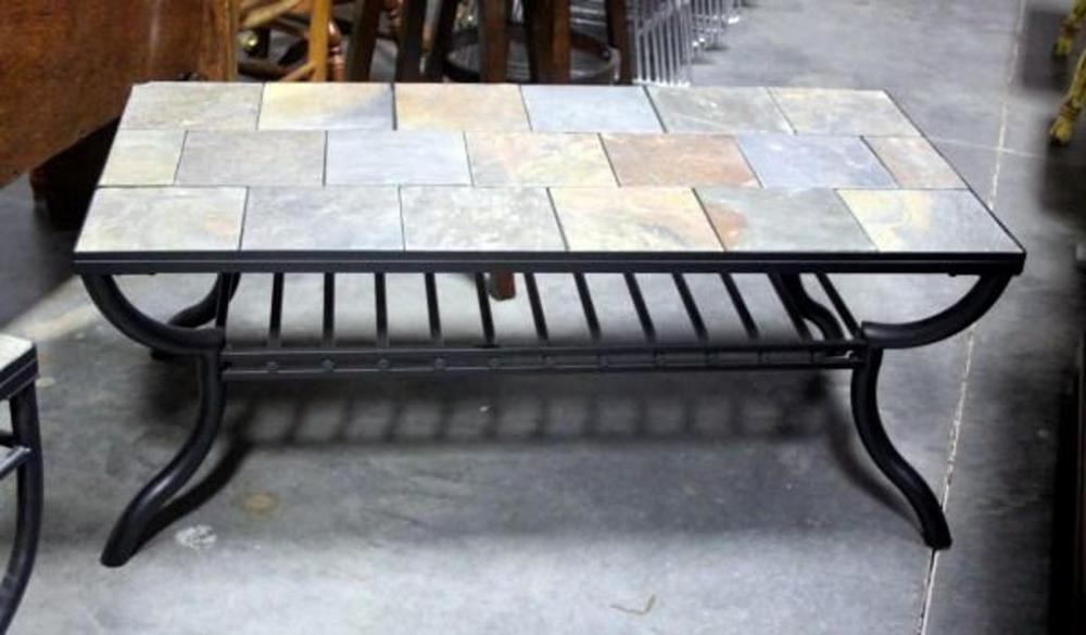 Beau Lot 29 Of 261: Slate Style Tile Top Black Metal Base Coffee Table, Indiv  Tiles, Grid Shelf, 2u0027 X 4u0027
