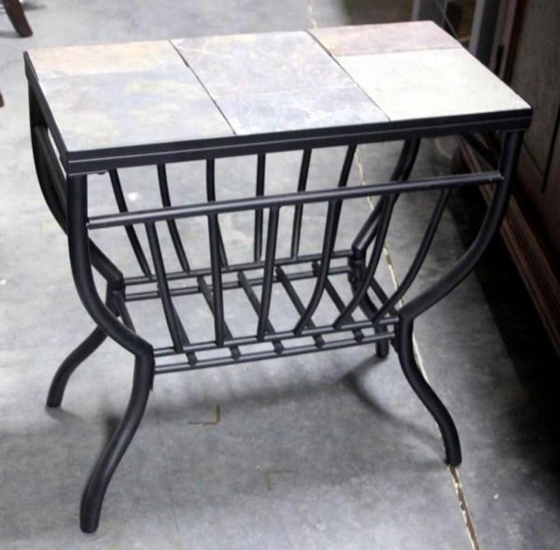 Charmant Lot 31 Of 261: Slate Style Tile Top Black Metal Base Side Table, Magazine  Holder, Indiv Tiles, Grid Bottom, 1u0027 X 2u0027