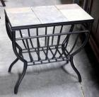 Slate Style Tile Top Black Metal Base Side Table, Magazine Holder, Indiv Tiles, Grid Bottom, 1' x 2'