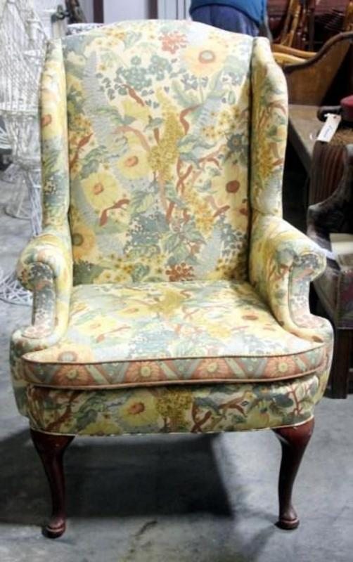 Lot 33 Of 261: Laine Of Hickory Blackwellu0027s Custom Gallery Yellow Floral  Wingback Chair