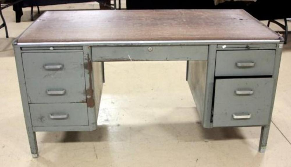 Lot 241 Of 263 Heavy Metal Office Desk Wood Top Pull Out Surfaces In Case Tornado Hide Under