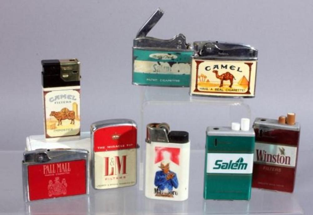 Vintage Cigarette Advertising Pocket Lighters, Salem, Camel