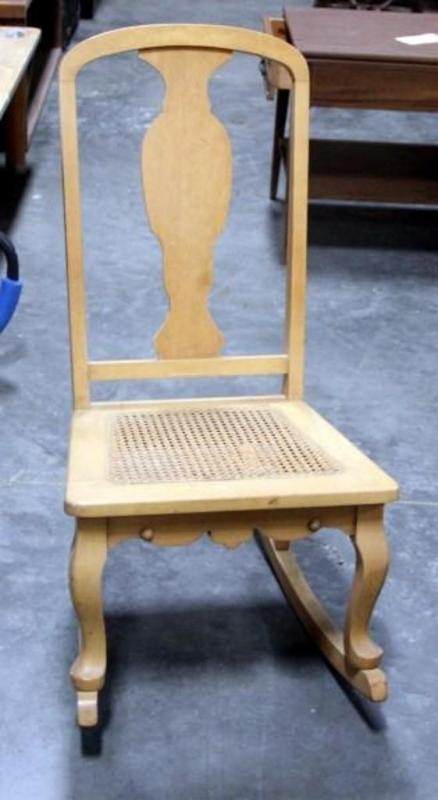Enjoyable Fiddleback Wicker Woven Seat Rocking Chair 17W X 32H Inzonedesignstudio Interior Chair Design Inzonedesignstudiocom
